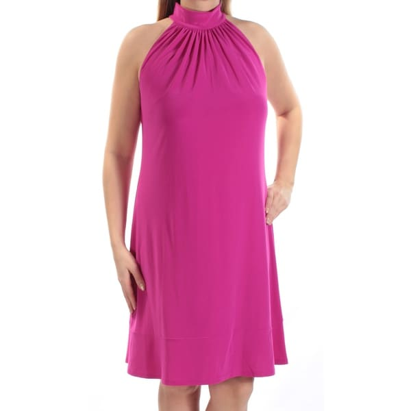 693fb792823d9 AMERICAN LIVING Womens Purple Sleeveless Turtle Neck Above The Knee Shift  Dress Size: 16