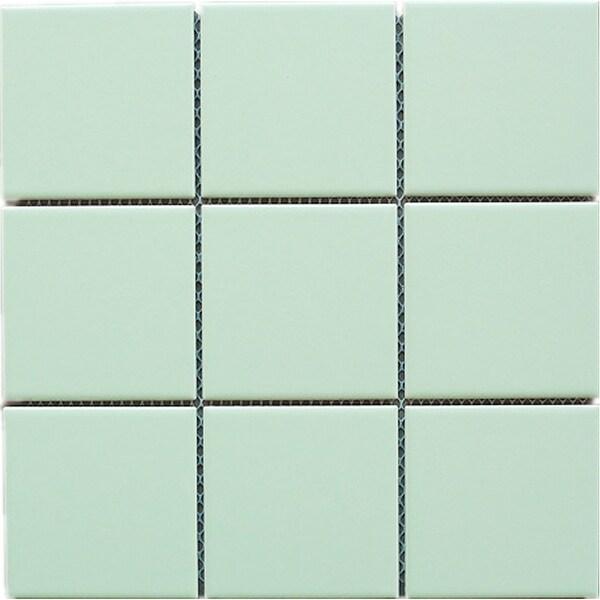 "TileGen. 4"" x 4"" Porcelain Mosaic Tile in Soft Green Floor and Wall Tile (10 sheets/10.78sqft.)"