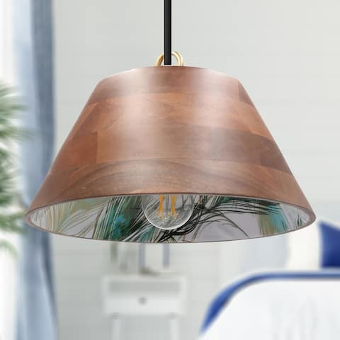 The Curated Nomad Hallan 13-inch Wooden 1-light Wood Pendant - 40