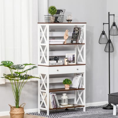 HOMCOM 4-Tier Shelving Bookcase Storage Cupboard with Pull Out Drawer, and Wooden Frame with X Bar Stability, White