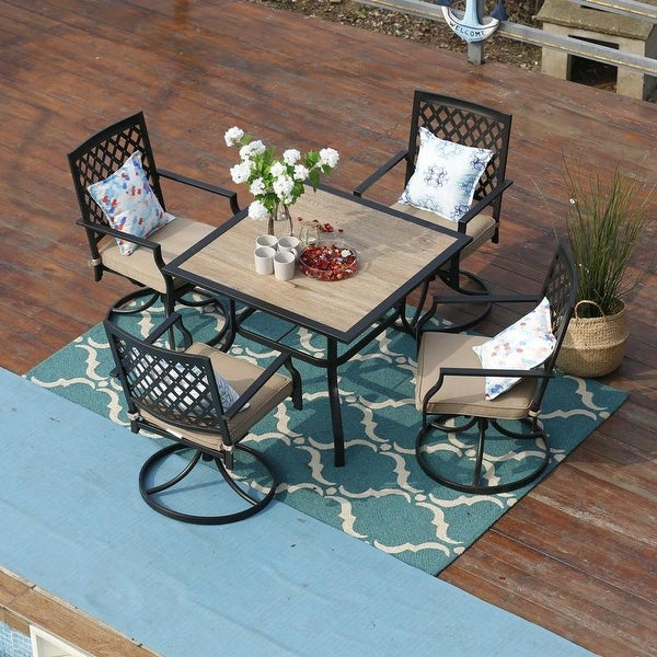 PHI VILLA 5 Piece Outdoor Patio Bistro Swivel Chairs and Wood-Like Square Dining Table Furniture Set. Opens flyout.