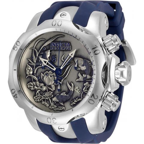 Invicta Men's 33353 'Reserve' Venom Blue and Silver Stainless Steel Watch - Black