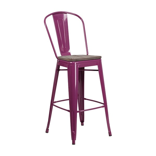 "Offex 30"" High Bistro Style Purple Metal Barstool with Back and Wood Seat"