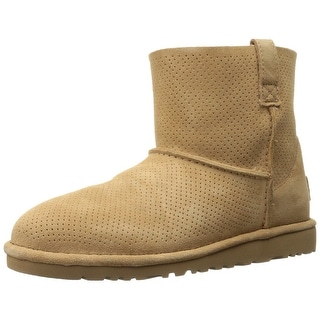 Ugg Womens Classic Unlined Mini Perforated Leather Closed Toe Ankle.