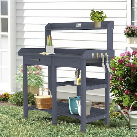 Outdoor Garden Wooden Potting Table Work Bench Station Planting - 45x17.8