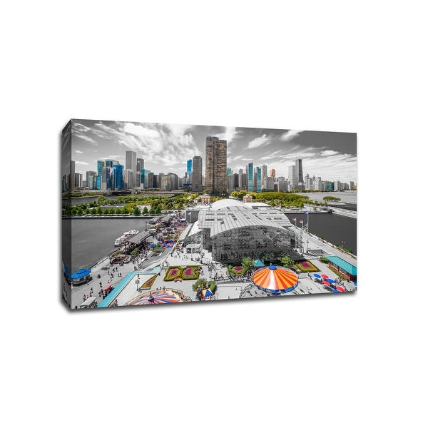 Chicago - Touch of Color Skylines - 36x24 Gallery Wrapped Canvas Wall Art ToC