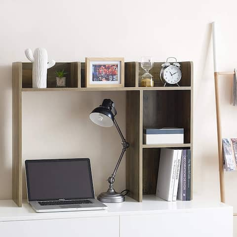 Classic Dorm Desk Bookshelf - Rustic