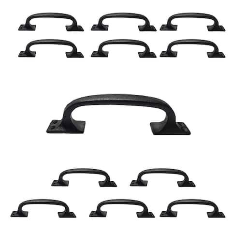 "Black Wrought Iron Cabinet Handle 6"" L Rustic Decorative Door Pull Handle Drawer or Dresser Door Pulls with Hardware Pack of 12"