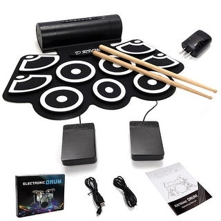 Gymax Electronic Roll Up Drum Set USB MIDI w/Built-in Speakers Foot Pedals Drum Sticks