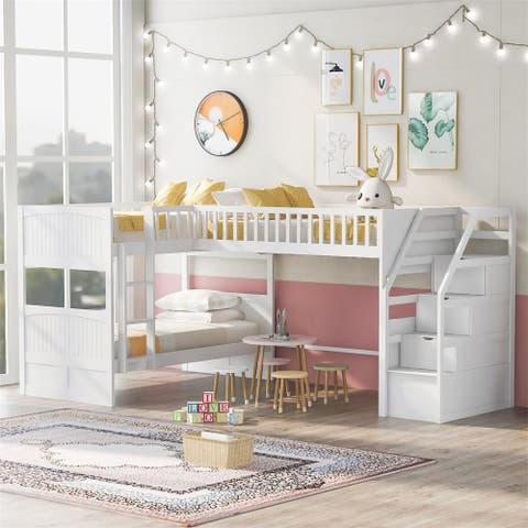 Merax Twin Over Twin Wooden L-Shaped Bunk Bed with Ladder and Stairway
