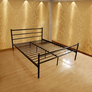 Full-size Platform Bed Frame, Metal Mattress Foundation with Stable Headboard and 10 Leg