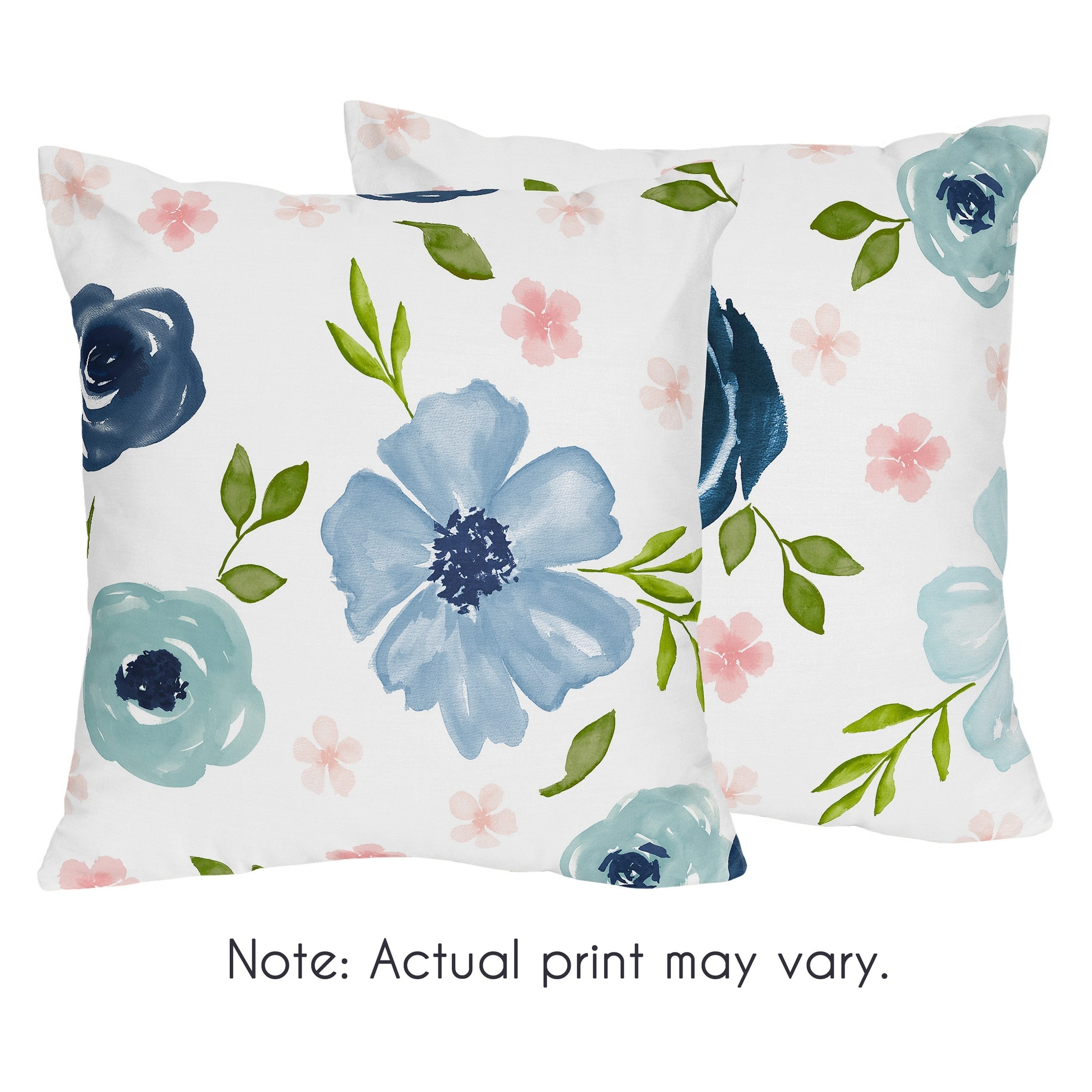 Navy Blue Pink Watercolor Floral 18in Decorative Accent Throw Pillows Set Of 2 Blush Green Shabby Chic Overstock 30757354