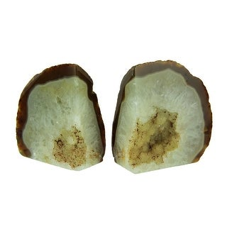 Small Polished Light Natural Brazilian Agate Geode Bookends <4 Pounds