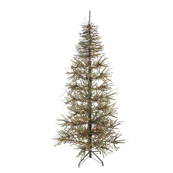 7' Pre-Lit Slim Warsaw Twig Artificial Christmas Tree - Clear Lights - brown