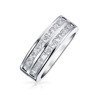 Bling Jewelry Double Row Channel Set Princess Cut CZ Wedding Band Ring 925 Sterling Silver