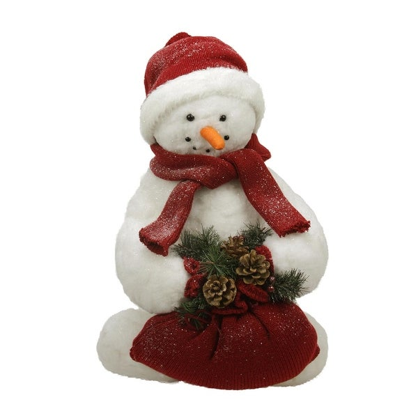 2' White Fluffy Sparkling Glittered Plush Snowman Holding a Bag with Pine Cones Christmas Decoration