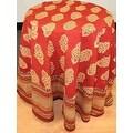 Handmade Kensington Block Print Tablecloth 100% Cotton Rust Brown Rectangular Square Round - Thumbnail 0