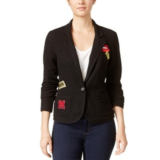 Freshman Womens Juniors Knit Blazer Patchwork Long Sleeves