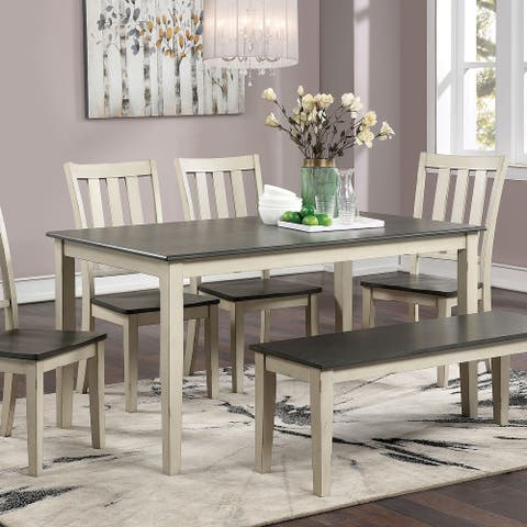 Furniture of America Hochter Rustic White Solid Wood Dining Table