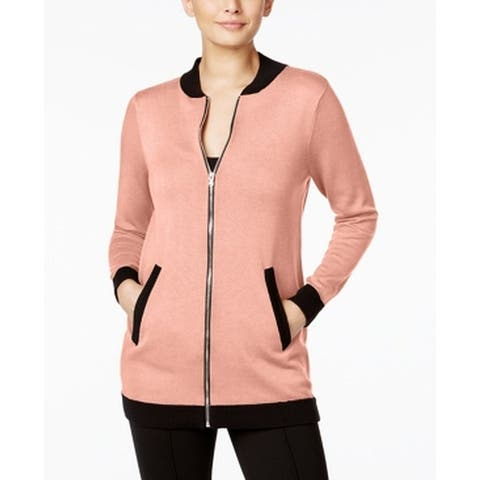 NY Collection Pink Women's Size Small S Black Trim Bomber Jacket