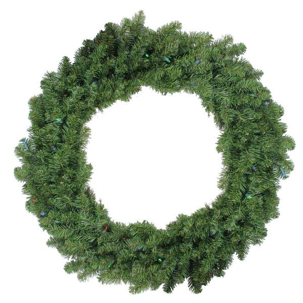 "36"" Pre-Lit Battery Operated Canadian Pine Christmas Wreath - Multi LED Lights - green"