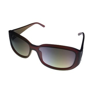 Kenneth Cole Reaction Sunglass Burgundy Rectangle Wrap, Smoke Lens KC1210 69B - Medium