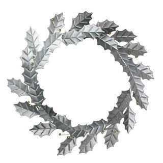 """18"""" Rustic Galvanized Artificial Holly Leaf and Golden Berry Christmas Wreath - silver"""