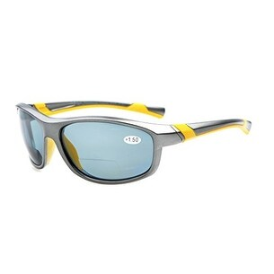 Eyekepper TR90 Polarized Bifocal Sport Sunglasses Grey Frame Grey Lens +2.5