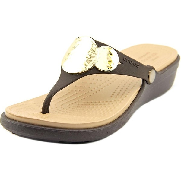 Crocs Sanrah Embellished Wedge Flip Women Open Toe Synthetic Brown Wedge Sandal
