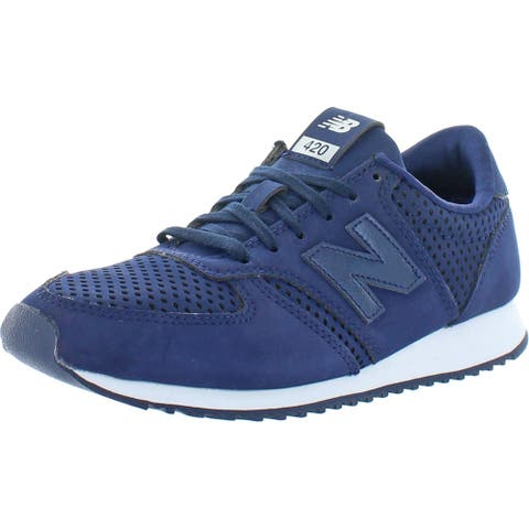 New Balance Womens Classic 420 Fashion Sneakers Logo Padded Insole - Navy/White