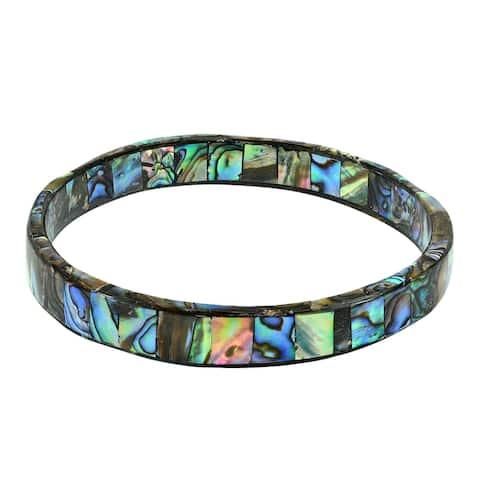Handmade Shimmering Ocean Colors Abalone Shell Mosaic Bangle Bracelet (Thailand)