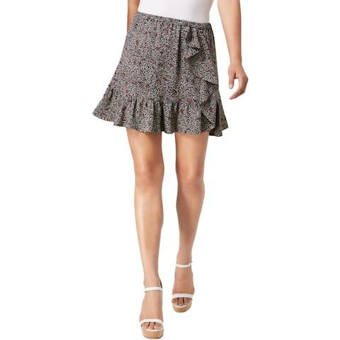 MICHAEL Michael Kors Womens Mini Skirt Printed Ruffled
