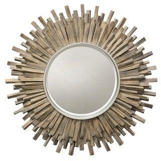 "StyleCraft SC-MI12671  36"" Diameter Circular Beveled Wood Framed Hanging Decorative Mirror - Natural"