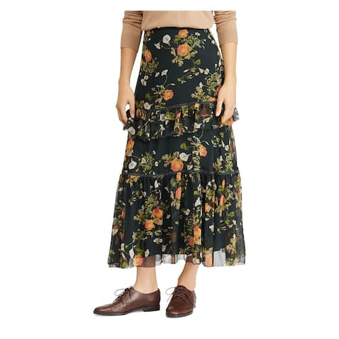 RALPH LAUREN Womens Green Floral Maxi Layered Skirt Size 14