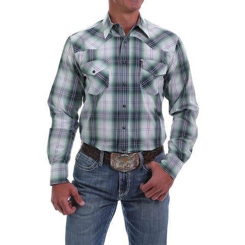 Cinch Western Shirt Mens L/S Plaid Green Navy Purple White
