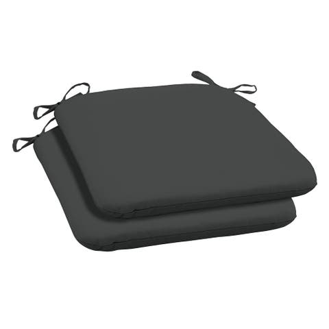 Arden Selections Slate Canvas Texture Outdoor Seat Pad (2-Pack) - 18 in L x 19 in W x 2.5 in H