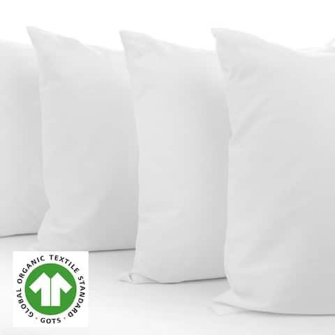 A1HC Organic Cotton Pillow Insert, 95% feather 5% Down, White,Set of 2