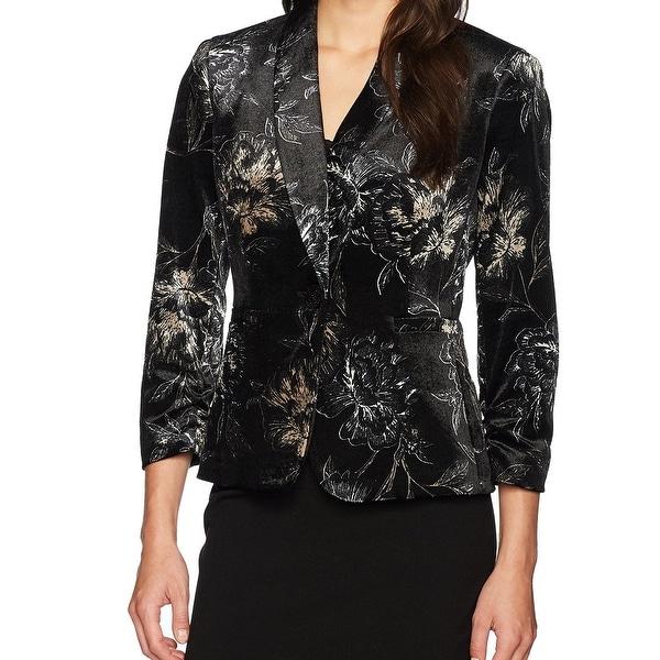 Kasper Black Womens Size 8 Velvet Floral Print Blazer Jacket