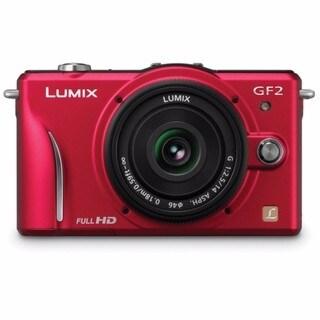 Panasonic Lumix DMC-GF2 Digital Camera W/14mm Lens Red Bundle