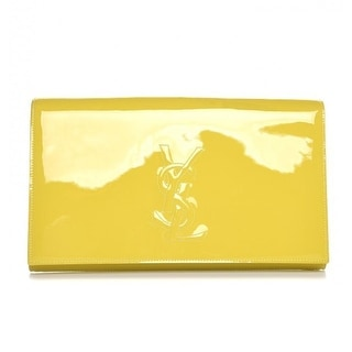 Saint Laurent YSL Classic Belle de Jour Yellow Patent Leather Clutch 361120