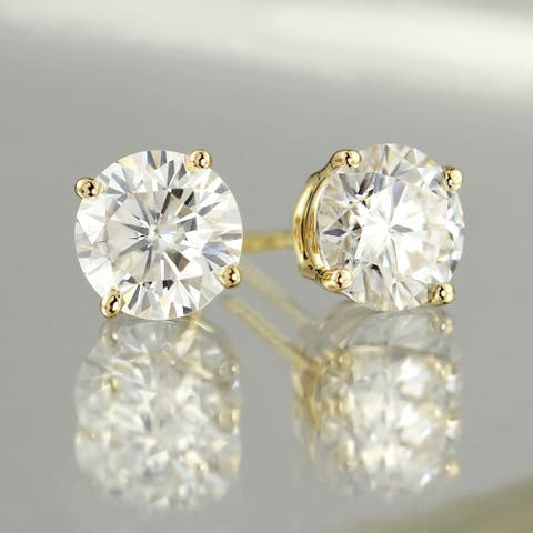 Auriya 14k Gold 2ct TW Round Moissanite Stud Earrings - 6.5 mm, Push-Backs - 6.5 mm