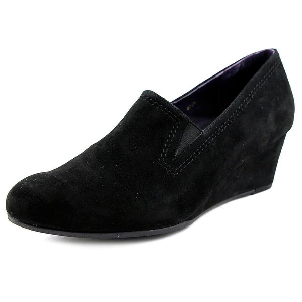 Vaneli Lara Women Open Toe Synthetic Black Wedge Heel