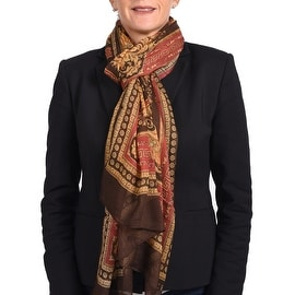 Versace Women's Gold Ornamental Printed Scarf Brown Red