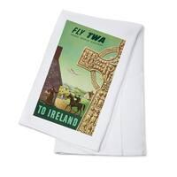 TWA - Ireland (Greco) USA c. 1956 - Vintage Ad (100% Cotton Towel Absorbent)