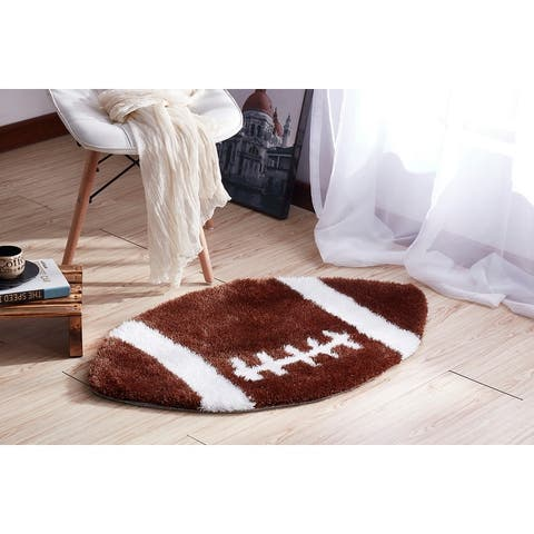 """""""Sports Theme"""" Extra Soft Hand Tufted Shag Area Rug (36-in Diameter)"""