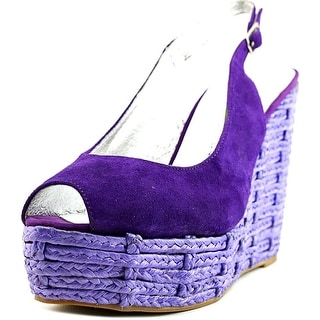 Chinese Laundry Boca Raton Women Open Toe Suede Purple Wedge Sandal