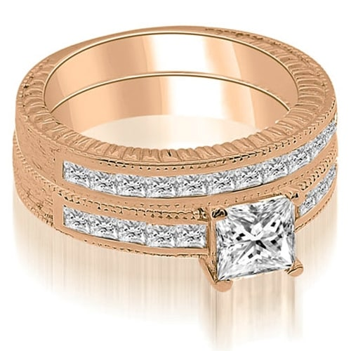 1.55 cttw. 14K Rose Gold Antique Princess Cut Diamond Bridal Set