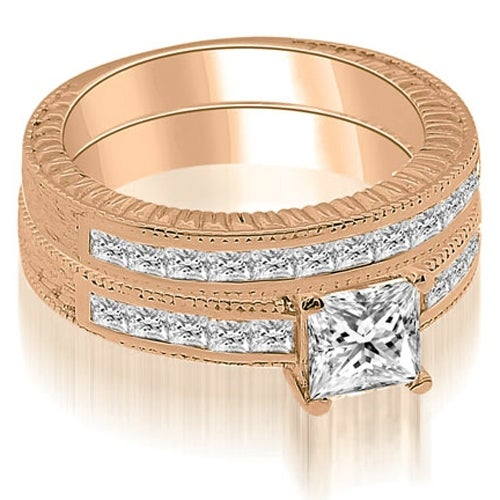 1.80 cttw. 14K Rose Gold Antique Princess Cut Diamond Bridal Set