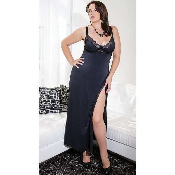 Shop Plus Size Totally Tempting Lingerie Gown - Black - Free ...