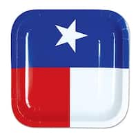 "Pack of 96 Disposable Texas State Flag Square Dessert Plates 7"" - Blue"